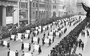 In 1917 suffragists held a parade in New York City.