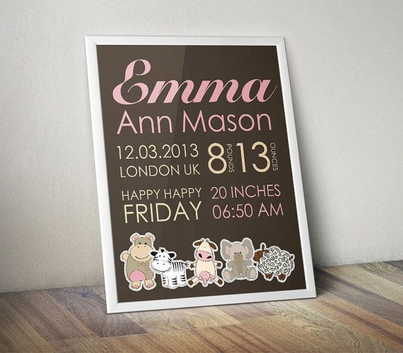 39 best baby birth announcement images on pinterest canvas items similar to pink brown nursery birth print girls birth stats personalized baby decor baby birth stats girl birth art baby girl wall decor new baby gift negle Images