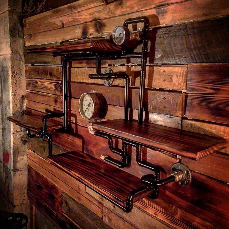 Retro Industrial Rustic Hardwood Cabinets steampunk wall ...