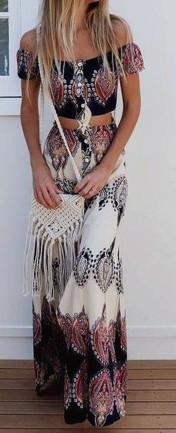 tribal boho maxi skirt
