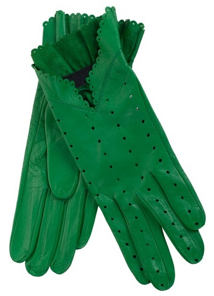 Christine Bec Green Leather Gloves