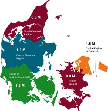 Nordjylland / The North Denmark region is one of five regions in Denmark. With its 578,839 citizens, the region is the smallest as regards population.