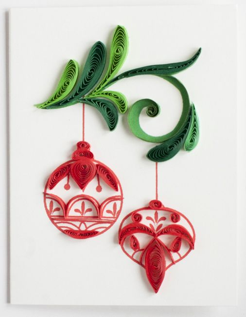 "Quilled Christmas gift enclosure with Christmas ornaments on it - 2.5"" x 3.5"""