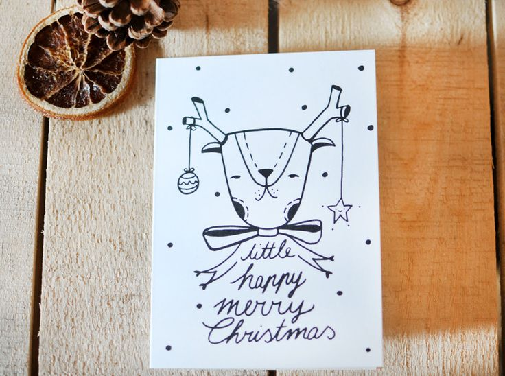 """Klappkarte """"little happy merry Christmas"""" von HerrPfeffer auf DaWanda.com"""