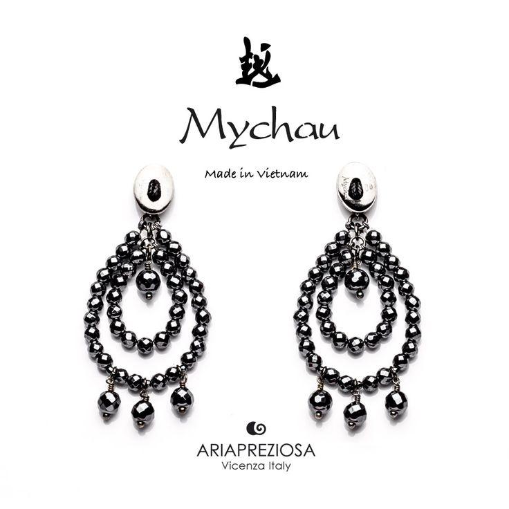 """Mychau - Coppia di orecchini Vietnam """"Big Cluster"""" a due gocce, originali, realizzati in Argento 925‰ e pietre naturali Ematite. Chiusura a farfalla"""