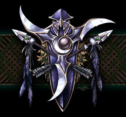 "The symbol of the night elves, from ""Warcraft III: Reign of Chaos,"" a real-time strategy game released by Blizzard Entertainment for the PC in 2002."