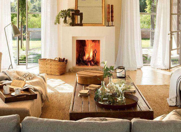 Камин в интерьере - красивый источник уюта | Примеры оформления каминов в домах и квартирах