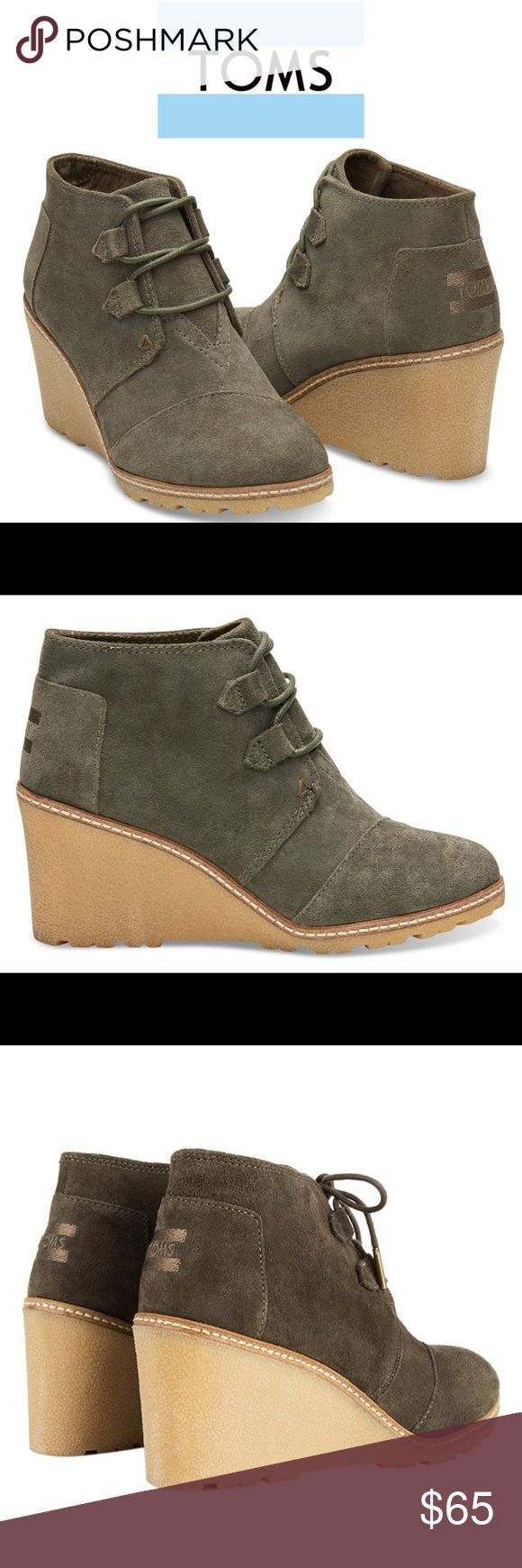 Desert Wedge Suede Boots NWT, Toms Desert Wedge booties in olive Suede.  Well designed with lots of details.  These booties will give you added height but are extremely comfortable.  Wear year round with almost anything!  Brand new, never been worn. Comes with Toms shoe bag.  I only have bottom of the shoe box, no top. TOMS Shoes Ankle Boots & Booties