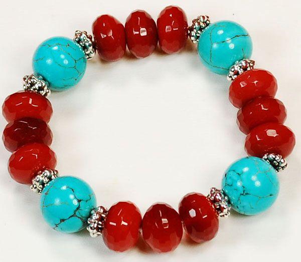 "8.5"" Ruby Quartz & Blue Turquoise stretch Bracelet   Ny6Designs wholesale beads supply"