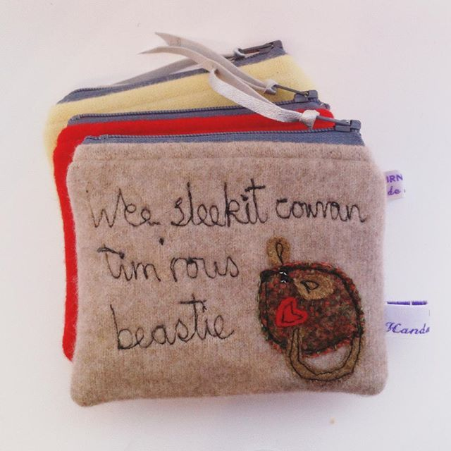 """emmalawrencep: """"O what a panic is thy breastie! Actually panic over I'm on route to the #writersmuseumedinburgh to deliver these. The purse is made from a super soft cashmere jumper, I should have made it into mittens for such a cold day. #rabbieburns #madeinscotland"""""""