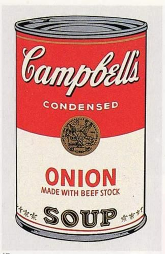 "Andy Warhol - Campbell's Soup Can (onion).  One of an installation of 32 paintings. ""Campbell's Soup Cans"", first shown Jul. 9th 1962 at Ferus Gallery, Los Angeles."