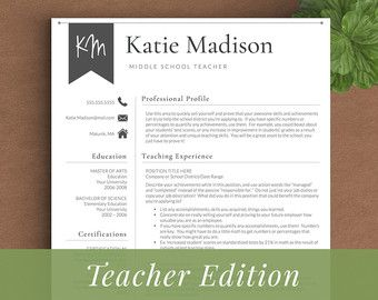 Teacher Resume Template For Word U0026 Pages (1 3 Page Resume For Teachers) | Resume  Teacher, CV Teacher, Elementary Resume, Teaching Resume  Professional Teacher Resume Template