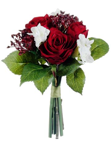 "Velvet Rose and Paperwhite Bouquet in Red and White 9"" Tall Only $8.99 winter wedding christmas holiday seasonal season decor decorations bridal bouquet http://www.afloral.com/Silk-Flowers-Artificial-Flowers-Fake-Flowers/Silk-Holiday-Flowers/Velvet-Rose-and-Paperwhite-Bouquet-in-Red-and-White-9-Tall"