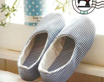 Woman Indoor Shoes/House Slippers (No.02) PDF Sewing Pattern, Size 5-11