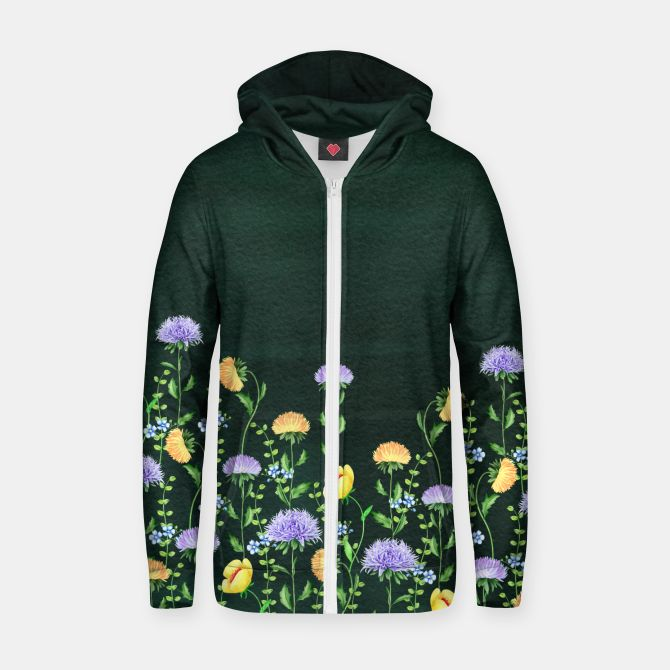 Aster Flora Cotton zip up hoodie, Live Heroes