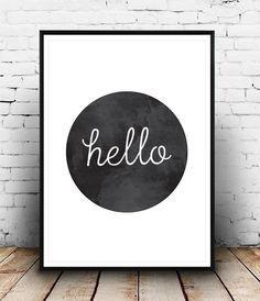 Print, Hallo Poster, Flur Drucken Hallo, Hallo, Wohnkultur, Wand Dekor, Wall Druck, willkommen, stilvoll, einfach, schwarz weiß, minimalistischen drucken