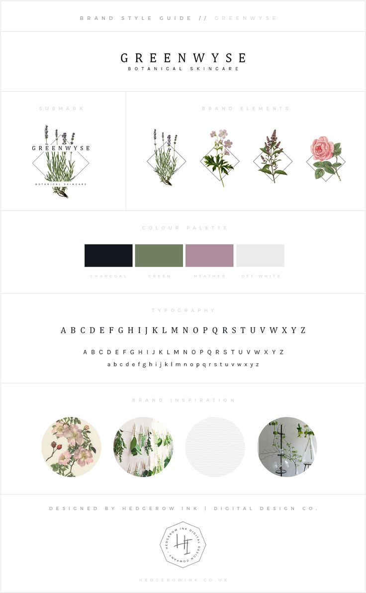 Branding for GreenWyse botanical skincare. Modern meets vintage in this scheme inspired by antique botanical illustrations.