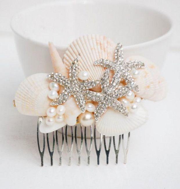 Beach Bridal Tiara Wedding Seashell Headpiece Starfish Crown