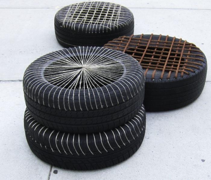 Recycled tyre stools // Fernanda Fajardo