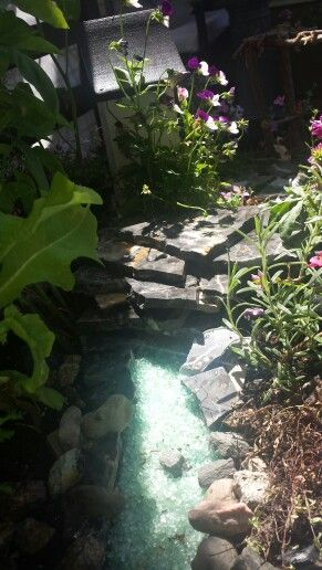 water feature  made with blue rock crystal