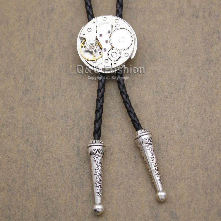 Men Silver Watch Clock Movement Steampunk Western Necklace Bolo Bola Neck Tie W8 Jewelry 2017 New Necklace