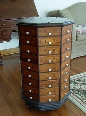 Antique Hardware General Store Wood Octagon Revolving 72 Drawer Nut Bolt Cabinet