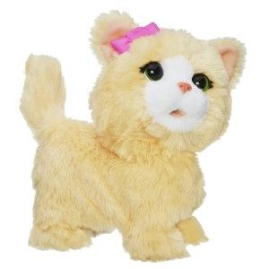 """FurReal Friends: Happy to See Me Pets My Bouncin' Kitty Pet Step right up and watch this insane, yet adorable, cat flop around on the floor making """"kitty noises"""".  The buttons are easy to push on its back . It  does 4 or 5 different actions and sounds each time you press the button on its back. http://awsomegadgetsandtoysforgirlsandboys.com/furreal-friends-2/ FurReal Friends: Happy to See Me Pets My Bouncin' Kitty Pet"""