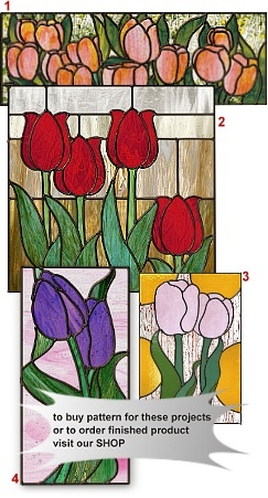 Leaded stained glass Tulip panels