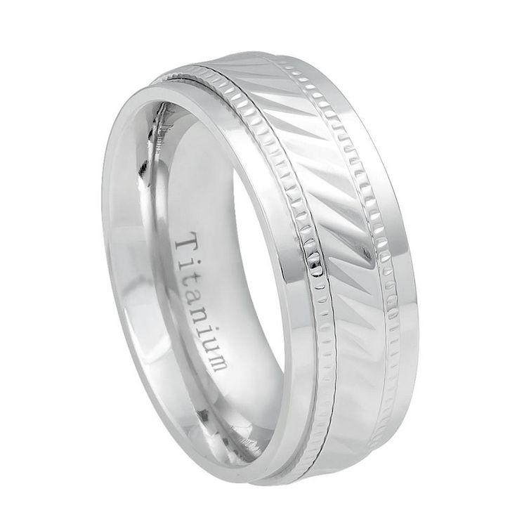 8mm Titanium Wedding Band White IP Plated Notched Center Milgrain