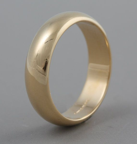 Solid 18K yellow gold traditional plain wedding band 5mm wide