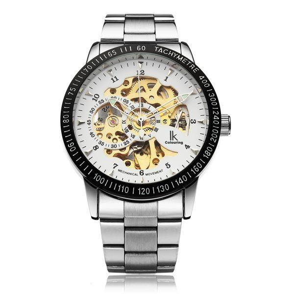 IK Mechanical Stainless Steel Skeleton Dial Gold Men Wrist Watch #IK #Fashion