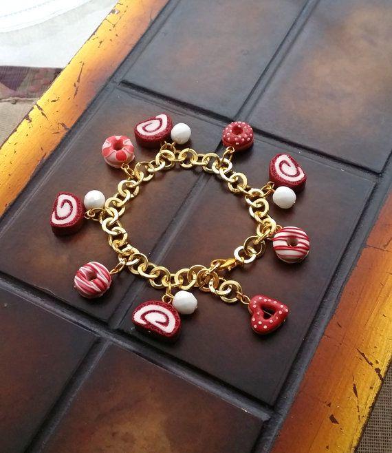 Red Velvet Donut Bracelet Handmade From by EvasCreationsShop