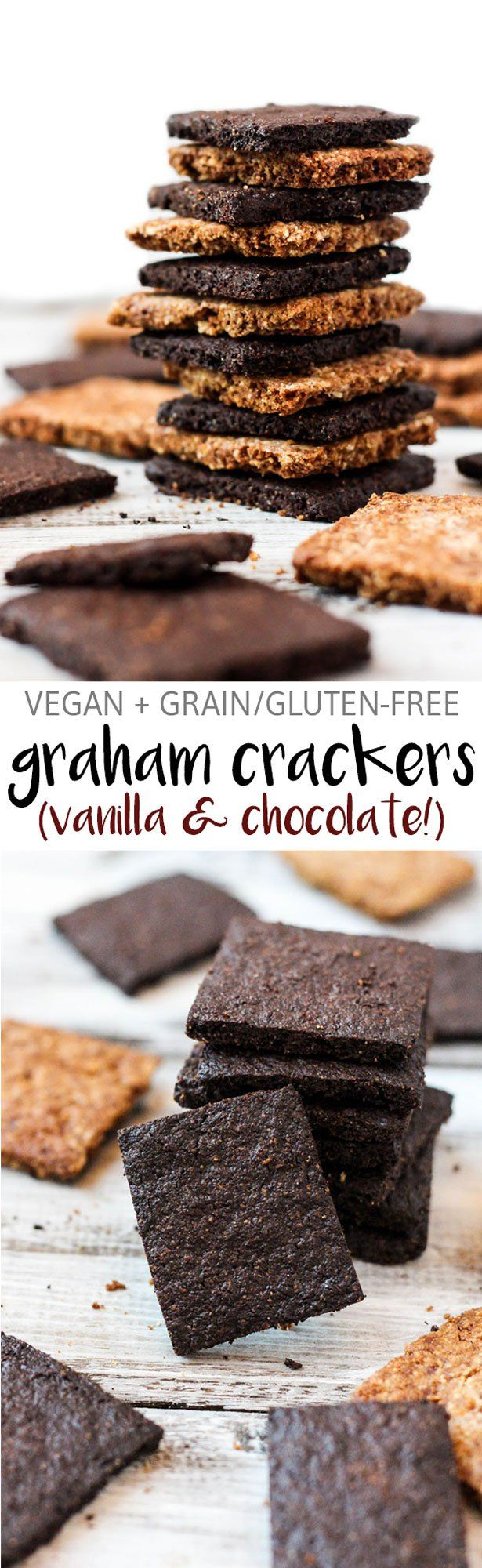 The classic snack just got a vegan & grain-free makeover! These vegan graham crackers are a great sweet snack between meals. Vanilla & chocolate recipes!