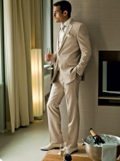 Greyson's MOH suit :D  Champagne suit idea for groom and best men.