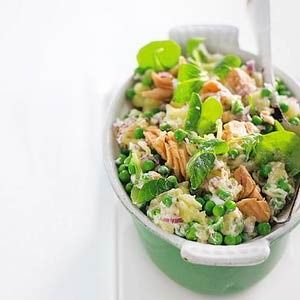 Lettuce-pea mash with salmon - Dutch recipe