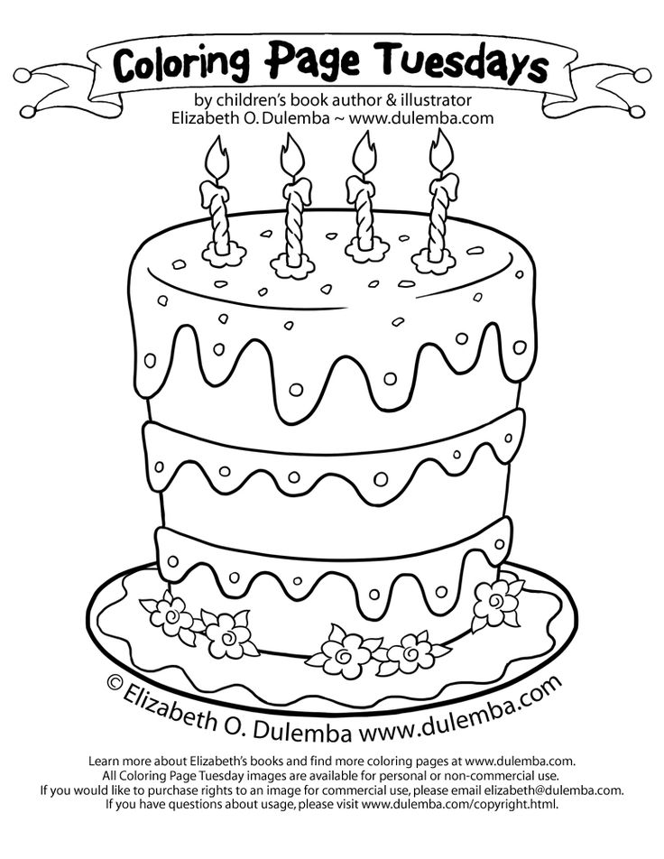 182 best printable coloring pages images on pinterest | drawings ... - Blank Birthday Cake Coloring Page