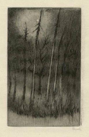 Bohuslav Reynek Stromy v zimní noci / Tree in the Winter Night suchá jehla / dry…