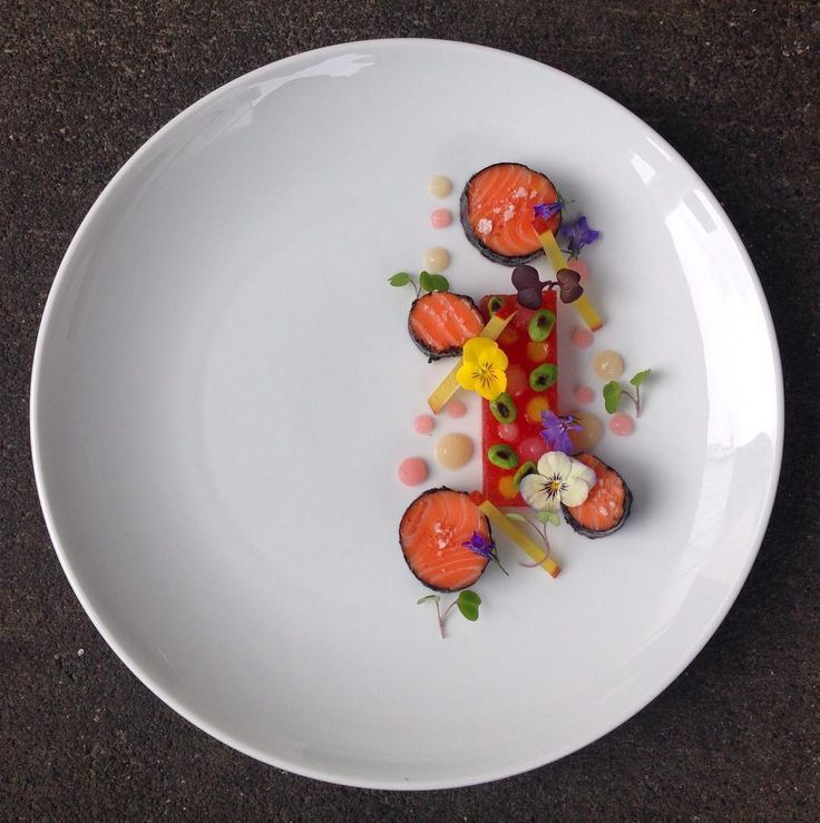 Confit Salmon & Seaweed, Compressed Watermelon, Soybean, Nashi Pear, Pickled Ginger & Apple