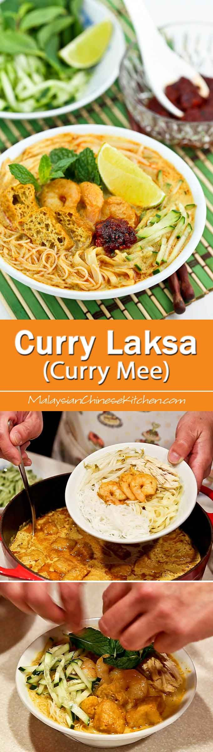 Curry Laksa (Curry Mee) is a delicious spicy curried noodle soup with a variety of toppings. This is my family's version found mainly in the Klang Valley and its surrounding areas. | MalaysianChineseKitchen.com