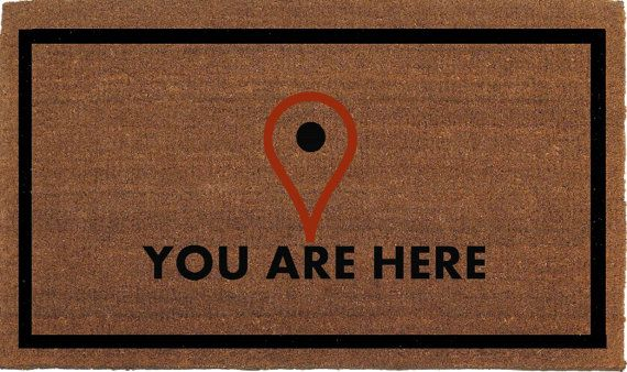 You Are Here, Map Locator Icon Funny Door Mat, Coir Doormat Rug, 24 Inches x 35…