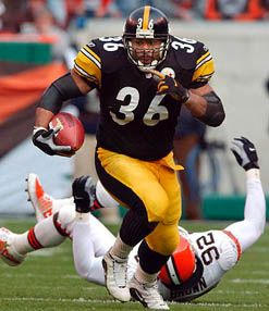 fifth all time rusher in the NFL  only two fumbles in his entire career  the reason i rep black and gold  Cant wait till he makes the hall of Fame   Jerome Bettis #36 :)