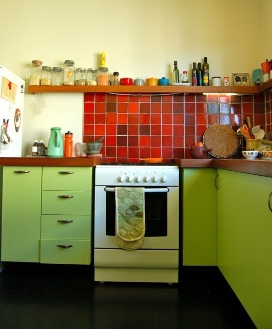 Red And Green Kitchen: 25+ Best Ideas About Red Kitchen Cabinets On Pinterest