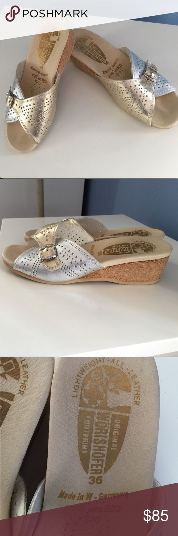 """Made in Germany comfort orthopedic sandals❤️SALE❤️ Extremely comfortable open back sandals , Brand New in original box ! Leather; color is silver & gold . Made in Germany ! Heel is About 1.7 """" high. Worishoffer Shoes Platforms"""