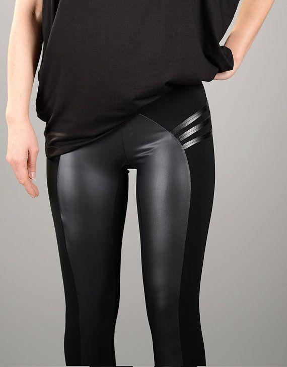 Leather Leggings, Black Leggings, Womens Leggings, Yoga Pants, Leather Pants, Sexy Leggings, Sexy Black Pants, Tight Pants, Plus Size Pants 1