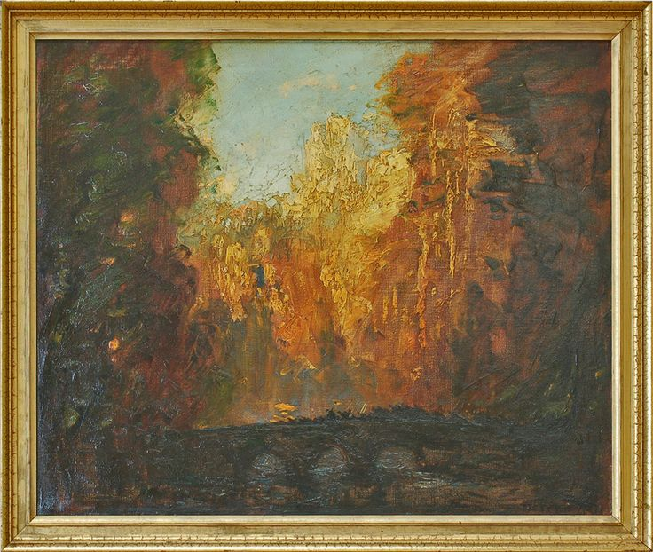 Tom Mostyn - Wooden River Landscape with Bridge Ref: 135 huge collection of original Thomas Edwin Mostyn available for exhibitions or sale #tom-mostyn