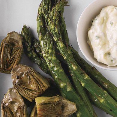 Roasted Asparagus and Baby Artichokes with Lemon-Oregano Aioli