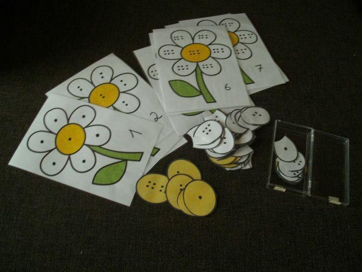 Getalbeeldpuzzel Hetzelfde getalbeeld op de bloem leggen.  Kan je gerust ook met cijfers doen om het moeilijker te maken.   Foto en spel van Ann Vanhoutte.