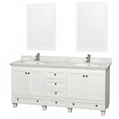 Wyndham Collection Acclaim White 72 Inch Bathroom Vanity WCV800072WH Double  Sink Vanities 72 84 In