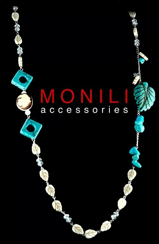 Turquoise and white beads combination by MONILI