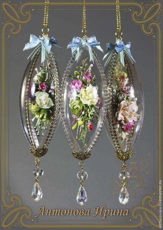 """Купить Елочные украшения-""""Колбочки с цветами"""" - бледно-розовый, елочные игрушки, елочные украшения"""